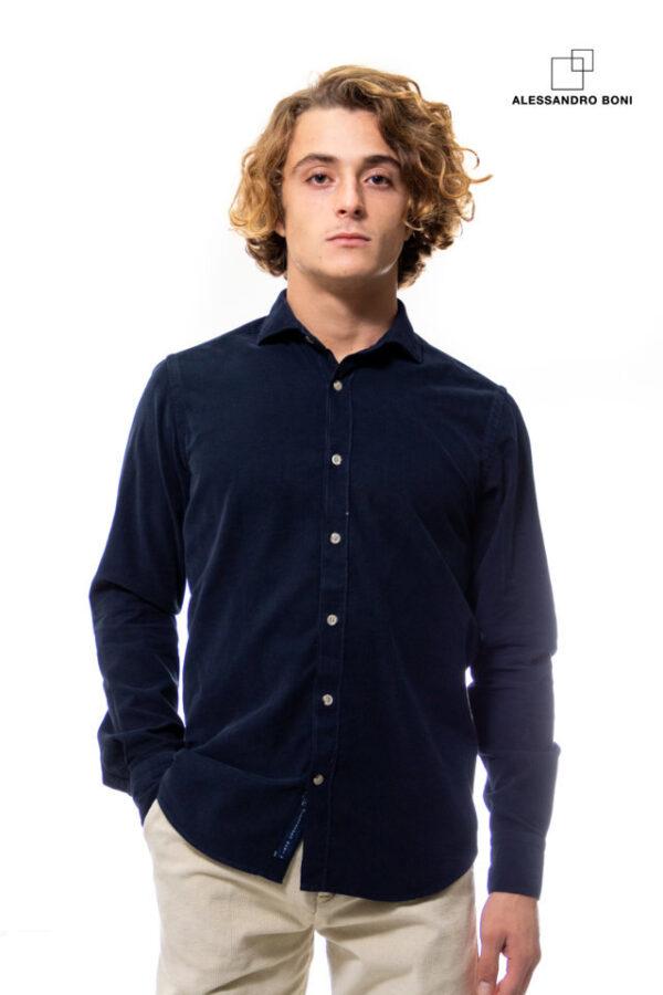 Camicia in velluto (blu verdone quadri) (4)